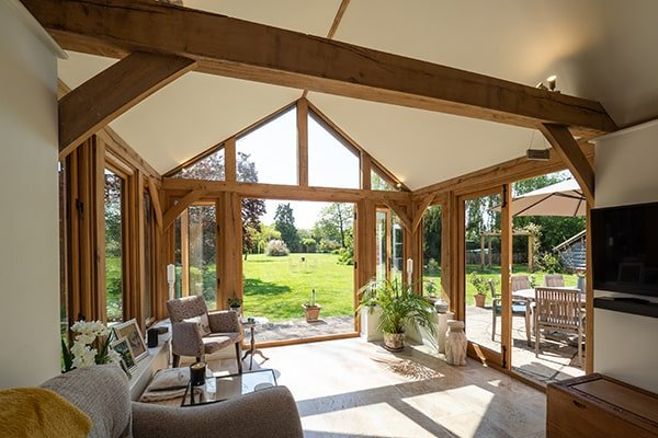 Oak Garden Room with Bifolds and French Doors