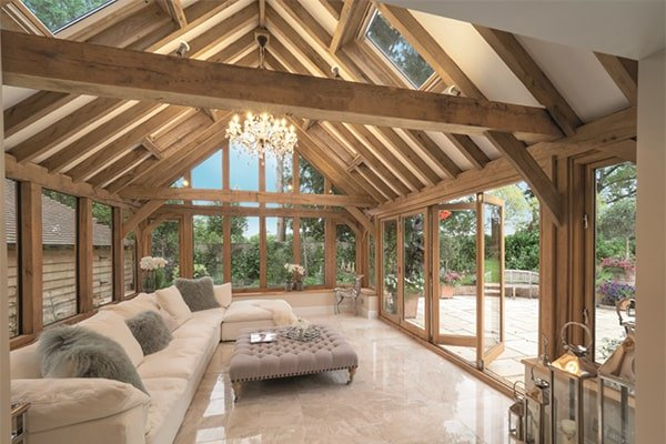 Oak Garden Roof with Rafters