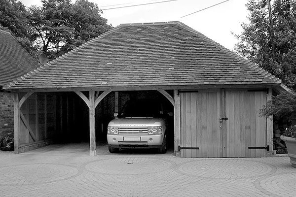 Oak Garage Open and Closed Bays