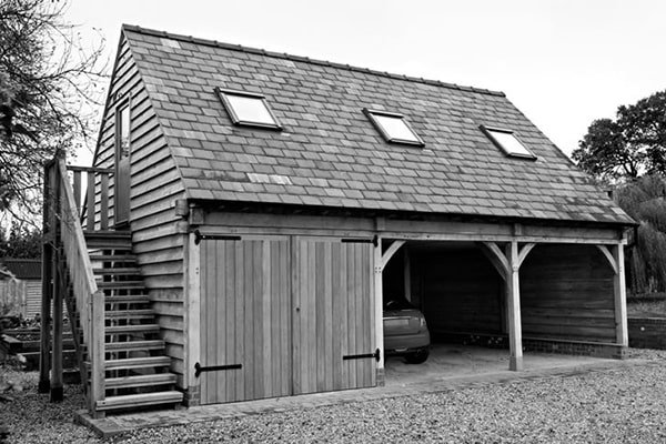 Oak Garage Open and Closed Bays with rooms above